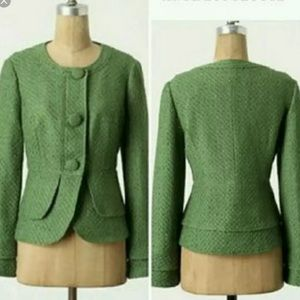 Anthropologie Green wool blend Tabitha Blazer